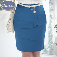 New Arrival 2014 Spring Women's Formal Straight Skirt Middle Waist Cotton Slim Hip Plus Size Skirts 4 Color