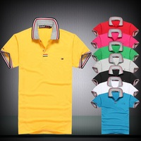 new 2013 Free Shipping Summer letter designer men's fashion label decoration Slim short sleeve embroidered casual polo shirt men