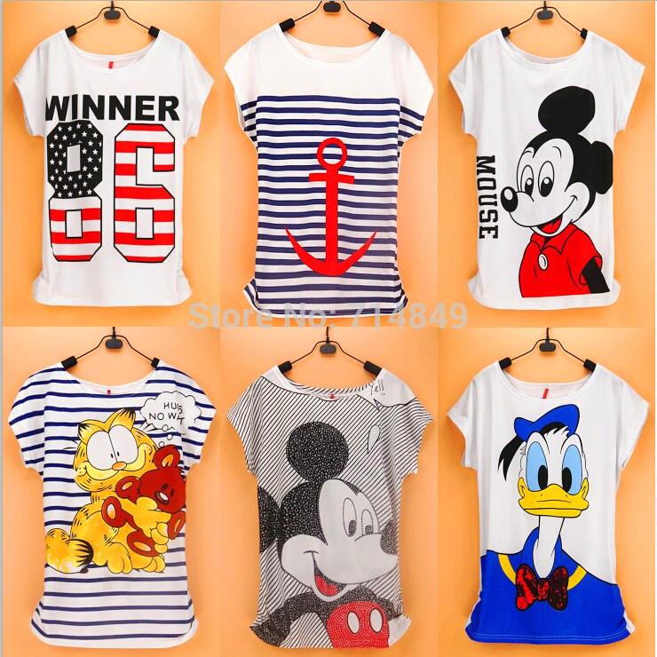 2016 New Topic 1 Mickcy Mokey T Shirt Women tees women type T-shirts Short Sleeve Quicker Shipping Women's Printed T Shirts(China (Mainland))