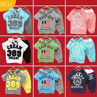 1 Set Retail Free shipping 100% cotton children clothing set, hooded T-shirt+pant, CREAM 369 SUGARY boys girl set