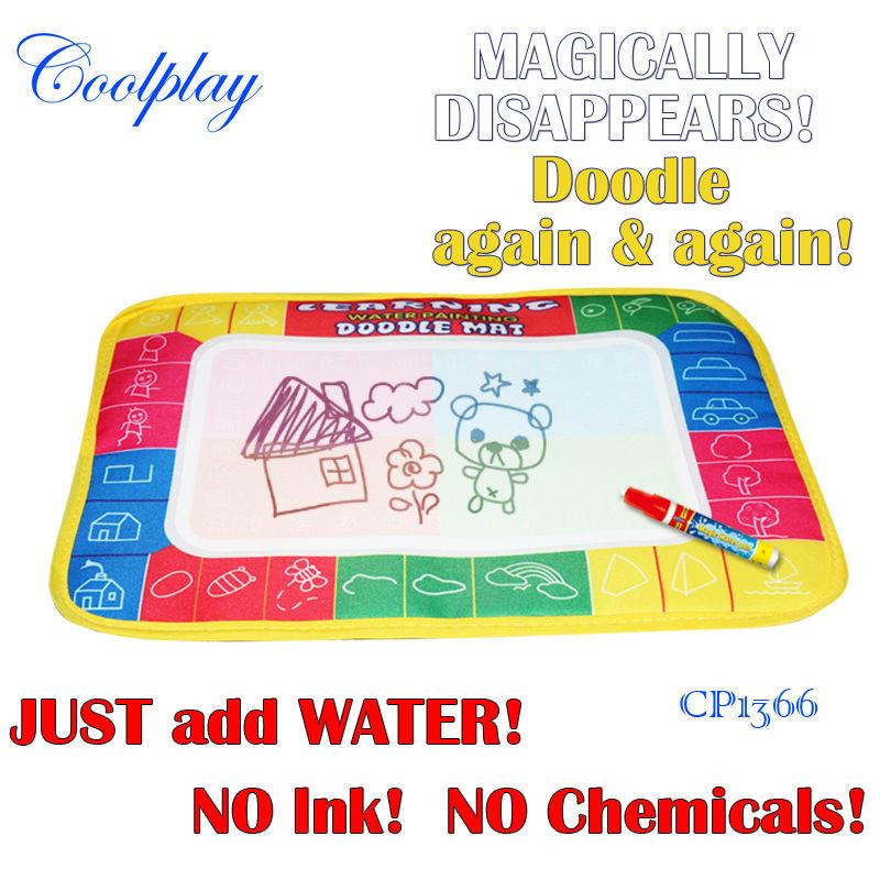 Free shipping 29X19cm CP1366 4 color Water Drawing Toys Mat Aquadoodle Mat&1 Magic Pen/Water Drawing board/baby play mat(China (Mainland))