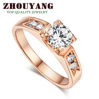 ZYR051 CZ Diamond Classic Crystal Wedding Ring 18K Rose Gold Plated  Made with Genuine Austrian Crystals Full Sizes Wholesale