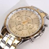 Wholesale New 2014 Men/Women Three Six-Pin Fashion Full Steel Strap Quartz Dress Watch With Black Gold White Dial