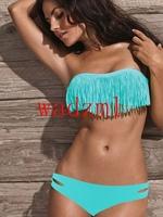 Ladies Fringe Frill Bandeau Bikini Sexy Women Bikini Swimwear Padded Boho Fringe Tassels Real Class Swimsuit