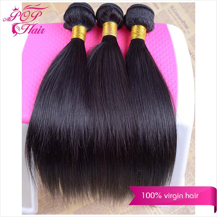 Ali POP Hair brazilian virgin hair straight 3pcs/4pcs brazilian virgin hair cheap high quality thick human hair weave straight(China (Mainland))