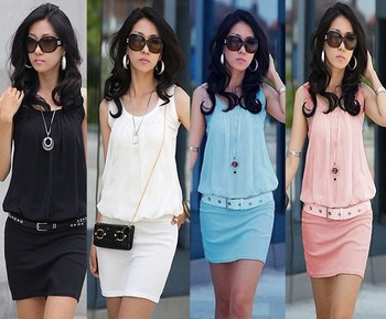 New !! 2014 Summer Women's Mini Dress Crew Neck Chiffon Sleeveless Causal Tunic Sundress 4 colors ,Free Shipping