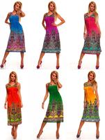 6 colors for choose Spring Bohemian Long Dress Maxi Sleeveless new fashion 2013 summer beach wear
