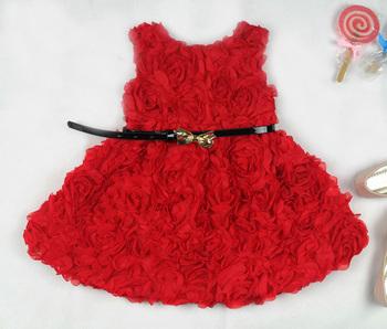 Kids Girls Dress Baby Rose Flower Summer Girl Dress Red Children Clothing Supernova Sale