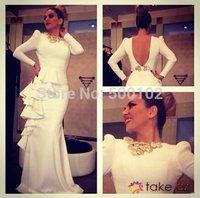 Arabian Design Jewel Neckline Beaded Long Sleeve Keyhole Back Mermaid Evening Dresses