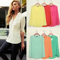 Free Shipping 2014 Women Casual Shirts Spring Summer Long Sleeve V Neck Feminina Chiffon Top Shirt Blouses Plus Size S-XXXL 9743