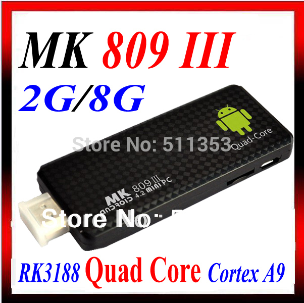 Quad core RK3188 Google TV Box MK809III Android 4.2.2 2GB RAM 8GB ROM 1.6GHz Bluetooth Wifi Google TV Player HDMI MK809 III(China (Mainland))