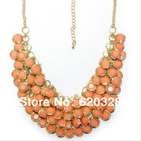 2013 New Charm Women Bijouterie Turquoise Pink Costume Jewelry Exaggerated Bohemia Large Statement Beaded Chunky Bib Necklace