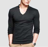 2014 Hot High Elasticity Men's Long-Sleeved Pure Color V-neck T-Shirt Fashion Slim Tee Shirt for Men Free shipping ST-813