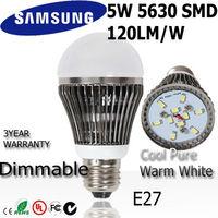 10pcs/lot  5w led light bulb lamp E27 ac85-265V 110v  220v 240v 3year warranty SAMSUNG SMD 120LM/W  Dim + Undim