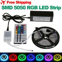 5M SMD 5050 RGB LED Strip Flexible Waterproof 300leds 60leds/m 220V to 12V + Remote + Power Adapter Home Indoor Lighting Decor