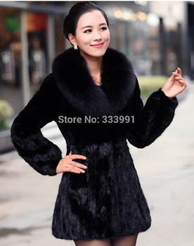 The new winter dress imitation mink fur and faux fur collar Rex Rabbit Fur Coat designerJacket special coat