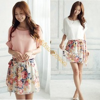 New 2014 dress summer casual Women's Charming Crewneck Chiffon Short Sleeve Floral mini Dress Plus Size 2 colors 14510