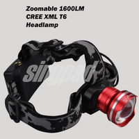 CREE XM-L XML T6 LED 1600 Lumens Zoom Rechargeable Headlight LED Headlamp CREE