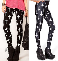 17 Hot Sale Styles! free shipping Women 's high elastic leggings with white crosses printed for cpam and wholesale WTP0081