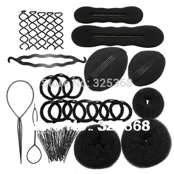 Lady Styling Base Accessory Maker Pads Hairpins Clip Insert Tool Hair Bun Donut Set(China (Mainland))