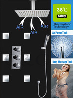 Germany Air Drop Technology!!!  Thermostatic Rain Shower Set With 16 Inch  Shower Head Pressurize Water Saving Hand Shower