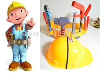 Artificial Plastic Kids Engineer Carpenter Tools Belt Safety Cap Bob the Builder Pretend Play , Toys for Boys Children