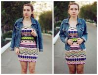 Dresses New 2014 fashion Mini  Ethnic print sheath Sexy bandage autumn  atacado roupas femininas sexy stripes