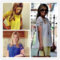 blouses & shirts spring 2014 new 2014 woman blouse New fashion OL shirt women plus size lace chiffon patcwork crochet