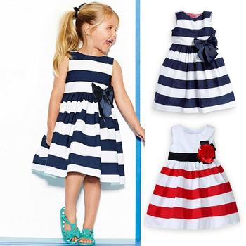 2014 girls striped dresses girl's princess dress girls sleeveless red and white striped dress free shipping
