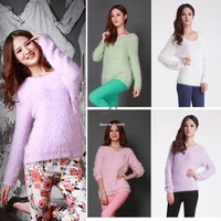 3pcs/lot Winter Warm Women Super Soft Mohair Pure Candy color Knitted Pullover Sweater Tops 19561