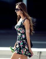 2014 Sleeveless Mini Dress Womens Floral Cotton Dress Round Neck Stretch girls Sundress Dresses 16630 K# b9