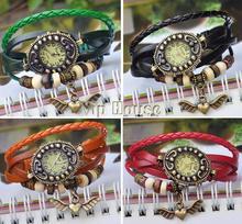 2014 New Angel Heart Decoration Womens Dress Watches Fashion Vintage Antique Womens Bracelet Handmade Weave Watch #7 19186 (China (Mainland))
