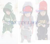2014 New Fashion cotton children baby boys autumn spring 2 pcs clothing set suit Pattern baby Hoodies + pants sets B18 SV007695