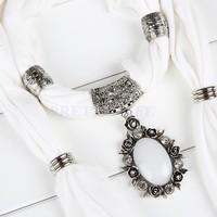 white opal flower pendant scarf rhinestone charm Jewelry scarves necklace pattern scarf B19 SV005447