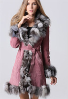 2014 Lady Natural Pig Leather  with Fox Fur Collar Long Coat Jacket Winter Women Fur Outerwear Coats Overcoat QD10148