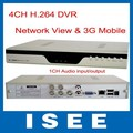 ISEE Style Free Shipping Best Price H.264 4CH Full D1 Real-time DVR with 3G Cellphone View with Russian Language