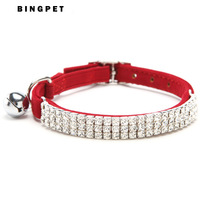 Free Shipping! Wholesale MOQ 12 pcs Diamante Cat Collar with Elastic Safety Belt and Bell 4Colors Assorted