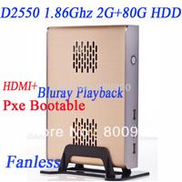 D2550 Intel Dual Core Four thread thin client atom mini pc dual core blu ray 1080P blu ray thin clients mini pc slim zero client