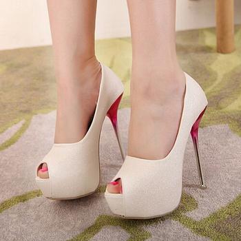 Hot selling women High Heels open peep Toe white gold Weddings shoes women pumps platform sandals big plus size Eur 39-42 4030