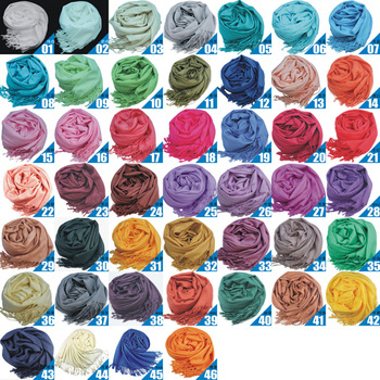 Pashmina Acrylic scarf 190cm*70cm Women's Wrap Shawl solid color scarves 43 Colors 203800 wholesales(10pcs/lot) Free Shipping
