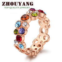 Top Quality ZYR028 Sweet Summer Flower 18K Rose Gold Plated Ring Genuine  Crystals From Austria Full Sizes Wholesale