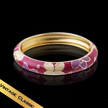 Special Bracelets & Bangles Handmade Enamel Synthetic Diamond SnowVintage Flowers Design Free Shipping Jewelry SZF02A07C
