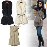 Free shipping! Womens Ladie Designer Faux Lamb Fur Long Vest Jacket Coat With Belt 5 Color B26 7669
