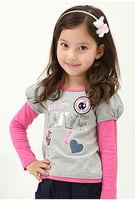 Freeshipping Spring Autumn Children Girl Kids baby puff sleeve false two piece set cute t shirt Tshirt clothing top PLCQZ0102