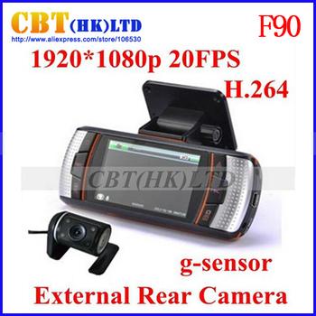100% Original F90 / F90G HD Dual Lens Car dvr camera recorder H.264 G-Sensor 1920x1080p 20FPS 2.7' LCD/External IR Rear Camera
