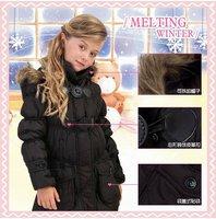 Autumn Winter coffee black Children girl Kids baby hoody hooded detachable long parkas coat jacket Outerwear WM118 Freeshipping