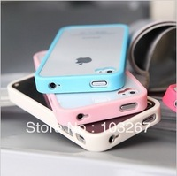 Free Shipping Protective Transparent Soft Back Cover Case for iPhone 4/4S (Assorted Colors)
