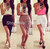 saias femininas 2014 brand new sexy wrap waist draped women skirt cut out  asymmetrical  low  saias femininas formal