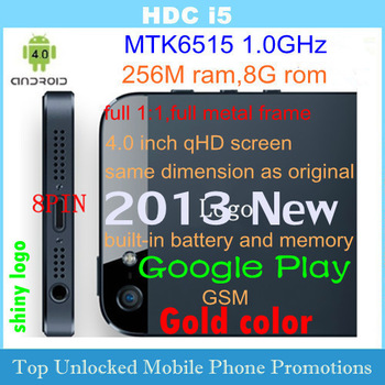 "New Arrival HDC i5 MTK6515 1.0GHz 4.0"" 854x480 Android4.0 GSM mobile phone 1:1 as original SG post Free Shipping"