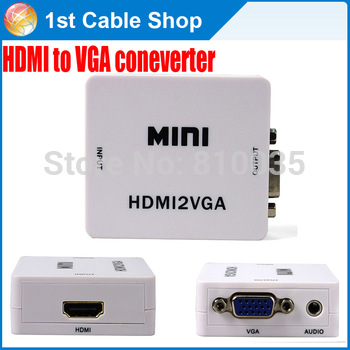 Free shipping 1PCS/lot HDMI to VGA converter with audio for PS3 Xbox  raspberry pi laptop DVD players